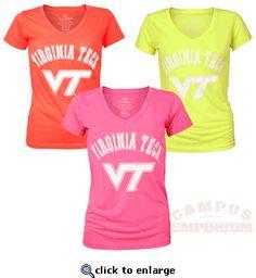 Super bright neon v-neck Virginia Tech tees by Colosseum
