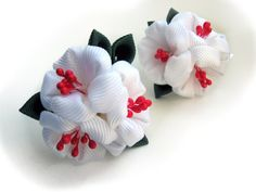 Set of 2 ponytails apple blossom, sakura. White, red. girl accessories. Fabric flower Wedding day.