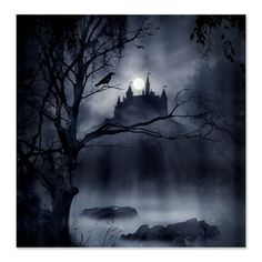 The raven stands watch. Poe Castle Fabric Curtain Panel 6' x 6' --a perfect backdrop.  $58 at CafePress.