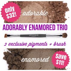 July's customer kudos has been announced!! Get the Adorably Enamored Trio featuring two exclusive Mineral Pigments at www.FabuliciousLashes.com! Only available while supplies last for the month of July! #younique #customerkudos #july #exclusive #mineralpigments #adorable #enamored #shadowbrush #adorablyenamoredtrio #limitedtimeonly #fabuliciouslashes #allabouteyes #makeupaddict #makeupjunkie #mua #browns #neutral