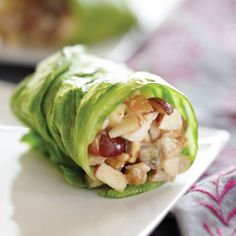 Fuji apples, red grapes, chicken breast, lite mayo and peanut butter wrapped in lettuce. Fresh, healthy, and delicious!
