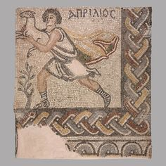 Part of a mosaic pavement with the personification of the month of April, Early 6th century CE From Thebes Chalkis, 23rd Ephorate of Byzantine Antiquities