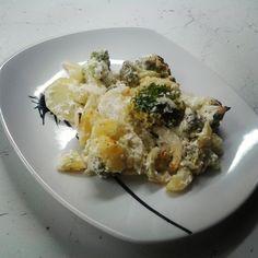 Zapečená brokolice s bramborem a smetanou