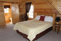 Oak Valley Loft Bedroom. Queen Bed. www.valleyviewcabins.com #HockingHills #HotTub #LogCabin