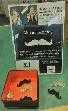 50203c3e Movember moustache brooches on sale in the Study Centres - £1 each - all  contributions