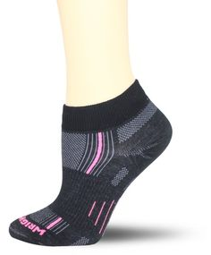 WrightSock Women's Stride Lo Single Pack Socks, Black/Pink Stripe and/or black/green stripe, Small