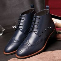 2014 de la moda Martin botas de otoño e invierno de los hombres de botas masculino Bullock Oxford zapatos de cuero de la PU Ayuda masculinos tobillo botas de vestir botas