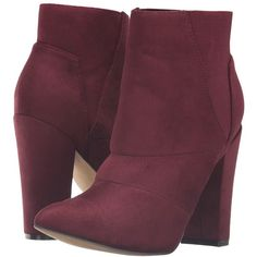 Michael Antonio Louis (Burgundy Suede) Women's Dress Boots (£45) ❤ liked on Polyvore featuring shoes, boots, ankle booties, ankle boots, chunky heel booties, suede boots, short boots, burgundy suede booties and suede ankle boots