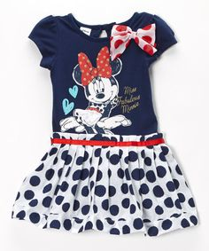 This Navy Polka Dot Minnie Mouse Ruffle Dress - Girls by Minnie's Bow-Tique is perfect! #zulilyfinds