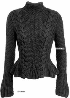 Handknit sweater with peplum