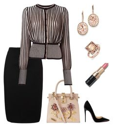 A fashion look from November 2016 featuring pattern shirt, knee length pencil skirts and black high heel shoes. Browse and shop related looks. Classy Outfits, Sexy Outfits, Chic Outfits, Fashion Outfits, Womens Fashion, Work Outfits, Church Fashion, Office Fashion, Work Fashion