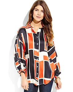 0039 ITALY Black & Orange Geometric Print Blouse