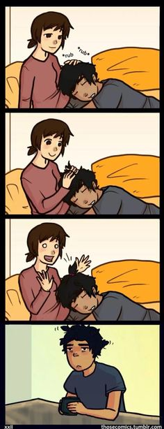 I do this all the time. Not mu fault my boyfriend has poofy hair.