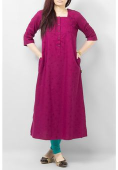 Magenta madness Pakistani Long Kurtis, Kalamkari Skirts, Short Sleeve Dresses, Dresses With Sleeves, Casual Chic, Magenta, Madness, Women's Fashion, Design