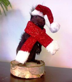 Purple squirrel prepares for Christmas