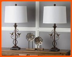 Safavieh Lighting Collection Birdsong Oil-Rubbed Bronze 28-inch Table Lamp (Set of 2) - Improve your home (*Amazon Partner-Link)