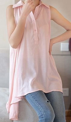 sleeveless pink blouse