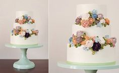 buttercream flowers wedding cake by Miso Bakes, Syliva G Photography Buttercream Flowers Tutorial, Buttercream Flower Cake, Wedding Cakes With Flowers, Cool Wedding Cakes, Flower Cakes, Buttercream Techniques, Wafer Paper Flowers, Cake Piping, Beautiful Cupcakes