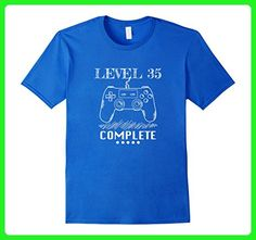 Mens Level 35 Complete Shirt. Video Game 35th Birthday Gifts Idea Large Royal Blue - Gamer shirts (*Amazon Partner-Link)