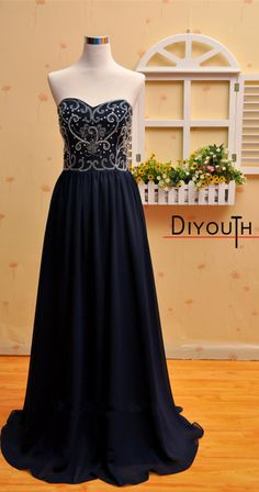 DIYouth.com Navy Chiffon Crystal Floor Length Prom Dress Sweetheart Bridesmaid Dress,Navy blue prom dresses, long cocktail dresses, evening dresses long,