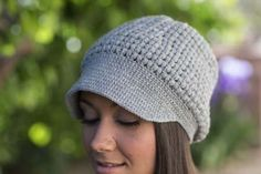 I love the brim and texture of this crochet hat.