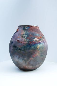 francine haines pottery | Iridescent Ceramic Vase For Sale at 1stdibs