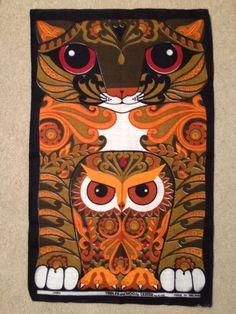 Vintage 60s 70s Teatowel Tibbles and Woo Ulster Linen Irish Psychedelic Cat Owl | eBay