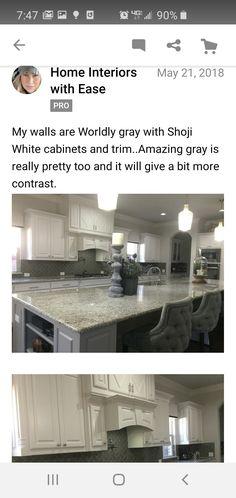 Wordly Gray, Shoji White, Amazing Grays, White Cabinets, Grey, Interior, Kitchen, Home Decor, White Cupboards