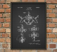 Steering Wheel Patent Wall Art Poster by QuantumPrints on Etsy