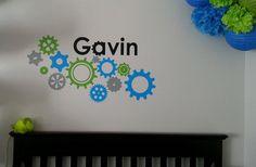 Custom Name Gear wall Decal for Boys room or Nursery by BGDECALS, $20.00