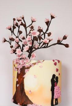 Blossom Love silhouette cake by Sarahscakes