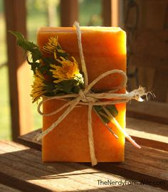 Dandelion and honey soap.  Hmmmm.  I have lots dandelions in our yard, looks like this might be a good use for them!  Love the beautiful yellow color of this soap too!