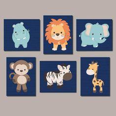 Zoo Animal Nursery Art, Jungle Animals, Safari Animals, Animal Nursery Prints, Nursery Wall Art, Boy Nursery Art, Set of 6 Prints Or Canvas by LovelyFaceDesigns on Etsy