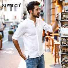 Cheap casual shirt men, Buy Quality brand shirt men directly from China shirt brand men Suppliers: SIMWOOD 2018 Summer New Casual Shirts Men Breathable Pure Linen Fashiom Three Quarter Slim Fit Brand Clothing Mens Fashion 2018, Best Mens Fashion, Mens Fashion Suits, Swag Fashion, Fashion Rings, Fashion Photo, Fashion Hair, Fashion Outfits, Mens Clothing Brands