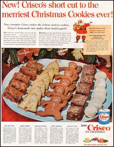Dying for Chocolate: Crisco Christmas Cookies: Vintage Ad & Recipes Crisco Cookies, Yummy Cookies, Chocolate Art, Sugar Cookies, Retro Recipes, Old Recipes, Vintage Recipes, Crisco Recipes, Crack Crackers
