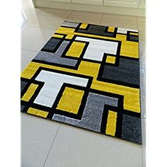 Image result for grey yellow black living room Yellow Rug, Mellow Yellow, Yellow Black, Black Silver, Living Room Area Rugs, Living Room Carpet, Funky Rugs, Latch Hook Rugs, Area Rug Runners
