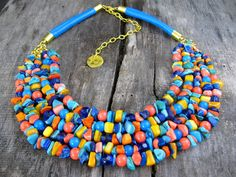 Colorful necklace  Multi strand by ZalewskaJewerly on Etsy