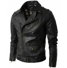 Mens jacket Casual Motorcycle Leather Jacket (GA19:DOUBLJU)