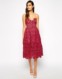 Red Lace Dress - Self Portrait Azaelea Midi Dress In Textured Lace