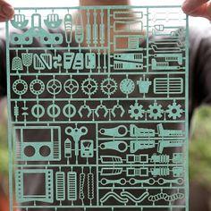 PaperJam Series - 01 Robot Factory. Laser cut cardboard collage gift