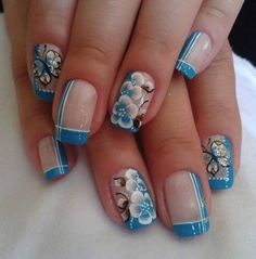 Mix up the classic french manicure with colors as opposed to the traditional white tip. In this post you can see 22 colored french manicures. Great Nails, Fabulous Nails, Gorgeous Nails, Beautiful Nail Designs, Cute Nail Designs, Beautiful Nail Art, Fingernail Designs, Acrylic Nail Designs, Acrylic Gel