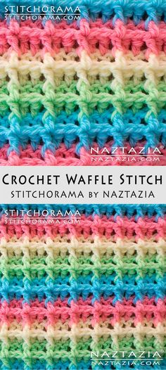 "Waffle Stitch Crochet Tutorial at Stitchorama by Naztazia...Free Pattern & DIY Tutorial Video by Donna Wolfe. Scroll down and on the left side you will see ""Access the Written Pattern PDF here!"" Click on that link."