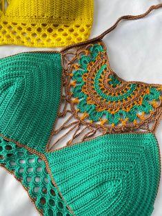 Crochet Crop Top, Crochet Bikini, Knit Crochet, Crochet Designs, Crochet Patterns, Lace Bralette, Crochet Fashion, Hippie Style, Crochet Clothes