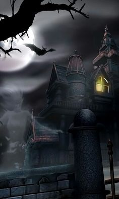 Only on the last Halloween Night in history will you know. backgrounds house Do you know the Dark Secret of Haversham Mansion? Last Halloween, Halloween Artwork, Halloween Pictures, Halloween Wallpaper, Vintage Halloween, Gothic Fantasy Art, Dark Fantasy, Creepy Houses, Arte Obscura