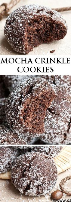These rich MOCHA CRINKLE COOKIES have a delicious chocolate and coffee flavor. They are sugary and crispy on the outside but soft on the inside. Great for gifting or just snacking! From http://cakewhiz.com