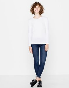 Pull&Bear - mujer - camisetas - camiseta básica manga larga - blanco…