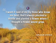 Abraham Lincoln Quote want said those : I want it said of me by those who knew me best, that I always plucked a thistle and planted a flower where I thought a flower would grow. Who Knows Me Best, Abraham Lincoln Quotes, Self Deprecating Humor, I Love Him, My Love, Flower Quotes, His Eyes, Great Quotes, Leadership
