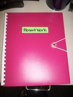 This folder has six pockets - one for each period. They are clearly labeled. If a student isn't in class to get their work, Write their name at the top and put it in the correct folder. It is their job to get the late work and make up any missed work.