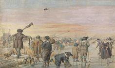 Hendrick Avercamp : Ice Scene with a Hunter Showing an Otter (Rijksmuseum (Netherlands - Amsterdam)) 1585-1634 ヘンドリック・アーフェルカンプ