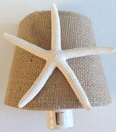 Burlap and Starfish Nightlight - Beach Decor